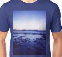 Coastal shoreline at low tide in blue Hasselblad medium format film analogue photography Unisex T-Shirt