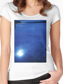 Mediterranean sea off Mallorca night blue color Hasselblad square medium format film analogue photo Women's Fitted Scoop T-Shirt