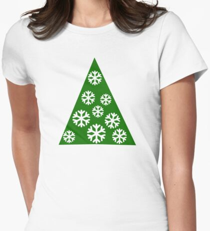 Christmas tree snow Womens Fitted T-Shirt