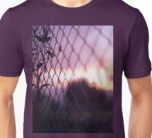 Wire fence and foliage on summer evening  in Spain square medium format film analogue photo Unisex T-Shirt