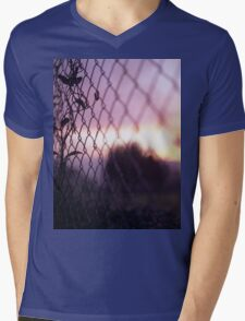 Wire fence and foliage on summer evening  in Spain square medium format film analogue photo Mens V-Neck T-Shirt