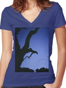 Tree branches in silhouette against blue dusk sky  square medium format film analogue photographs Women's Fitted V-Neck T-Shirt