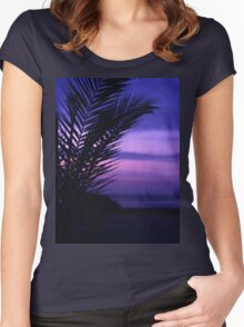 Palm tree on beach Ibiza silhouette against dusk sunset sky square medium format film analogue photos Women's Fitted Scoop T-Shirt