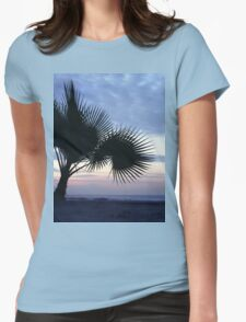 Tropical palm tree on beach Ibiza silhouette dusk sunset sky square medium format film analog photographs Womens Fitted T-Shirt
