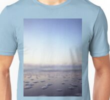 Coastal shoreline in square blue low tide sea water closeup macro medium format film analog photo Unisex T-Shirt