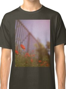 Poppies growing up fence in hot summer faded vintage retro square Hasselblad medium format film analog photo Classic T-Shirt