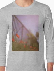 Poppies growing up fence in hot summer faded vintage retro square Hasselblad medium format film analog photo Long Sleeve T-Shirt