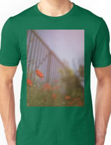 Poppies growing up fence in hot summer faded vintage retro square Hasselblad medium format film analog photo Unisex T-Shirt