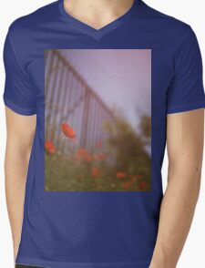 Poppies growing up fence in hot summer faded vintage retro square Hasselblad medium format film analog photo Mens V-Neck T-Shirt
