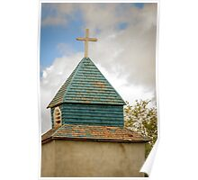 Cross and steeple on an old church Poster