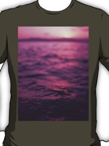 Mediterranean sea water off Ibiza Spain in surreal purple sunset evening dusk colors film analog photo T-Shirt