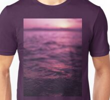 Mediterranean sea water off Ibiza Spain in surreal purple sunset evening dusk colors film analog photo Unisex T-Shirt