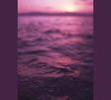 Mediterranean sea water off Ibiza Spain in surreal purple sunset evening dusk colors film analog photo T-Shirt