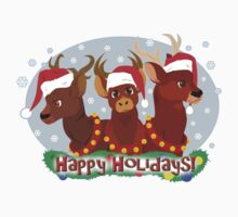 Three Christmas Deer One Piece - Short Sleeve