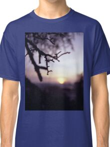 Tree branch in silhouette against sunset dusk evening sky square medium format film analog photographers Classic T-Shirt