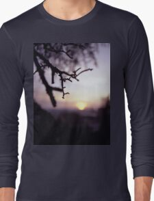 Tree branch in silhouette against sunset dusk evening sky square medium format film analog photographers Long Sleeve T-Shirt