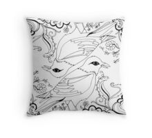 Black and White Birds Throw Pillow
