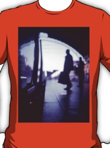 Passenger with luggage boarding old train in station blue square Hasselblad medium format film analog photo T-Shirt