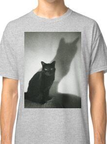Portrait of black cat on sofa film noir chiaro scuro black and white square silver gelatin film analog photo Classic T-Shirt