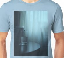 Glass of water on table still life blue square Hasselblad medium format film analog photography Unisex T-Shirt
