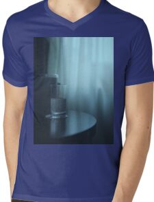 Glass of water on table still life blue square Hasselblad medium format film analog photography Mens V-Neck T-Shirt