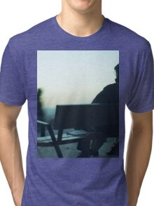 Man sitting on park bench in winter square Hasselblad medium format film analog photography Tri-blend T-Shirt