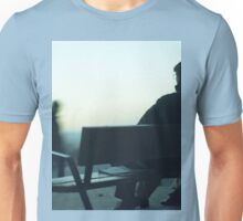 Man sitting on park bench in winter square Hasselblad medium format film analog photography Unisex T-Shirt