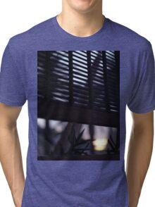 Beach house window at dawn Ibiza Spain square Hasselblad medium format film analog photographer Tri-blend T-Shirt