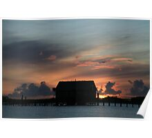 Sunset at the Coast Guard Station Poster