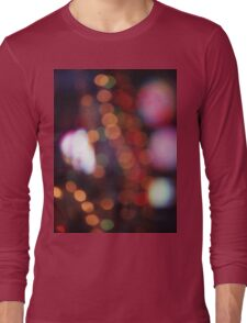 Red purple abstract photo of bokeh lights square Hasselblad 6x6 medium format film analogue photograph Long Sleeve T-Shirt