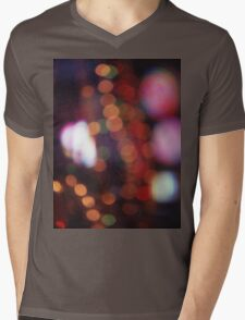 Red purple abstract photo of bokeh lights square Hasselblad 6x6 medium format film analogue photograph Mens V-Neck T-Shirt