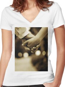 Bride and groom holding hands sepia toned black and white silver gelatin 35mm film analog wedding photograph Women's Fitted V-Neck T-Shirt