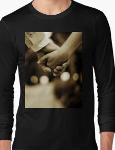 Bride and groom holding hands sepia toned black and white silver gelatin 35mm film analog wedding photograph Long Sleeve T-Shirt