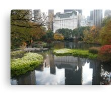 Plaza Hotel Reflecting in Central Park Lake, Fall Colors Canvas Print