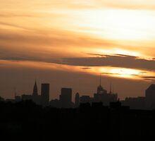 Manhattan Sunset As Seen from Citifield, Queens,New York  by lenspiro