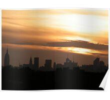 Manhattan Sunset As Seen from Citifield, Queens,New York  Poster