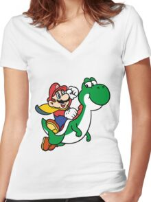 mario and yoshi Women's Fitted V-Neck T-Shirt