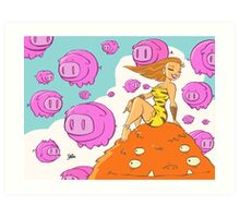 Pretty lady sitting on a monster surrounded by flying pigs... Art Print