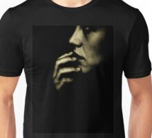 Portrait of young sad woman in darkness black and white 35mm film silver glatin analog photograph  Unisex T-Shirt