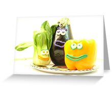 3 bright vegetables? Greeting Card
