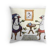 bird tea party Throw Pillow