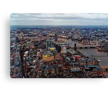Aerial View of London at Twilight, United Kingdom Canvas Print