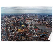 Aerial View of London at Twilight, United Kingdom Poster