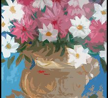 pottery with flowers by catherine walker