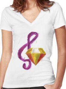 Paint Splatter - Adagio Dazzle Women's Fitted V-Neck T-Shirt