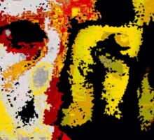 Painted face, yellow and black abstract Sticker