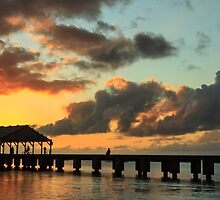 Hanalei Pier Sunset Panorama by James Eddy