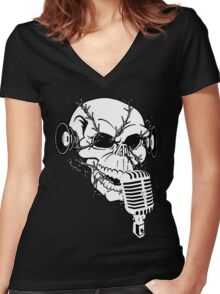 Singing Skull  Women's Fitted V-Neck T-Shirt