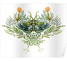 Moth with Plants Poster