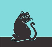 Black Cat with Teal by AbigailDavidson